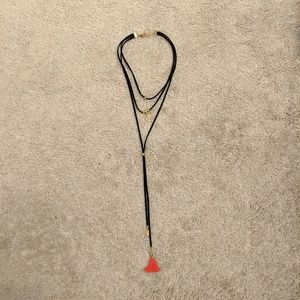 Jewelry - Layered Suede Cord Tassle Necklace